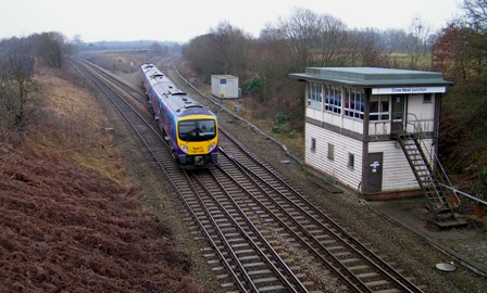 A diverted Trans-Pennine Express heads for Walkden at Crow Nest Junction on 14 Feb 2009.
