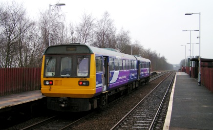Pacer at Hag Fold station with a westbound service toward Wigan on 14 Feb 2009.
