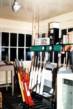 Signal Lever Frame inside Walkden signal box, December 1992.