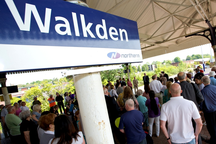 Gala speeches on Walkden station.