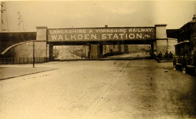 Old (un-dated) photograph of the bridge outside Walkden station.
