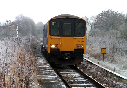 Class 150 arriving at Walkden with a Southport train on a snowy morning, 2nd January 2009.