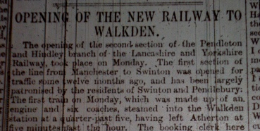 The Farnworth Journal report of the Opening of the 'New' Railway Line From Walkden.