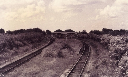 An unusual view of Walkden station in 1992, taken from the top of the signal frame east of the station.